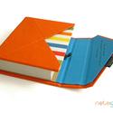 M-es notesz/határidőnapló BORÍTÓ-piros-kék-színes csíkos, Naptár, képeslap, album, Jegyzetfüzet, napló, Naptár, Könyvkötés, Boríték (ENVELOPE) notesz *** CSAK BORÍTÓ!, 450 oldalas THICK belívhez!  *** mérete: 10x14 cm, *** ..., Meska