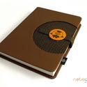 XL-es notesz/határidőnapló BORÍTÓ - barna-pöttyös, Naptár, képeslap, album, Jegyzetfüzet, napló, Naptár, Könyvkötés, 14x20 cm-es (XL-es méretű) noteszborító, 200 oldalas (regular) belsőhöz.  A Noteshell noteszek egyi..., Meska