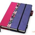 XL, késztermék! 'ZSEBES' típusú notesz/határidőnapló BORÍTÓ-kék-lila-pink-virágmintás, Naptár, képeslap, album, Jegyzetfüzet, napló, Naptár, Könyvkötés, *** KÉSZTERMÉK! Azonnal átvehető/postázható!  Zsebes (POCKET) notesz *** CSAK BORÍTÓ!, 450 oldalas ..., Meska
