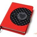 M-es notesz/határidőnapló BORÍTÓ - piros-fekete-fehér-pöttyös, Naptár, képeslap, album, Jegyzetfüzet, napló, Naptár, Könyvkötés, Korongos (CLICK-IN + ) notesz *** CSAK BORÍTÓ!, 200 oldalas REGULAR belívhez!  *** mérete: 10x14 cm..., Meska