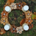 Őszi vagy karácsonyi kapszula koszorú -arany és barna, Dekoráció, Karácsonyi, adventi apróságok, Karácsonyi dekoráció, , Meska