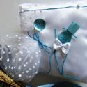 Mennyegzői gyűrűpárna türkizben, Esküvő, Esküvői dekoráció, Gyűrűpárna, Varrás, ..amikor egy esküvőnek stílusa van..   Levendula illatú esküvő a legapróbb részletekből.   Az ünnep..., Meska