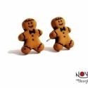 Mézeskalács ember fülbevaló, Ékszer, óra, Fülbevaló, Ékszerkészítés, Apró gingerbread man, azaz mézeskalács emberke. Nagyon édes.  *Mérete: kb. 1 cm  ***A fülbevaló nik..., Meska