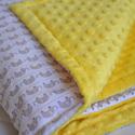 Minky vastag mini elefántos takaró, Baba-mama-gyerek, Baba-mama kellék, Gyerekszoba, Falvédő, takaró, Varrás, Pihe-puha bélelt Minky takaró.   Egyik oldala 100% pamut designer textil, fehér alapon mini szürke ..., Meska