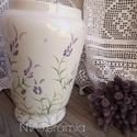 Levendulás-katicás Tavaszi -kis romantika, Otthon, lakberendezés, Dekoráció, Kaspó, virágtartó, váza, korsó, cserép, Ünnepi dekoráció, Kerámia, Festett tárgyak, Fehér agyagból készítettem ezt a tavaszváró romantikus vázát. Levendulás mintámat festettem rá.  Ap..., Meska