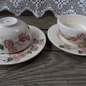 Egy tea veled csereszvirágosan-keletiesen, Otthon, lakberendezés, Dekoráció, Konyhafelszerelés, Bögre, csésze, Kerámia, Festett tárgyak, Fehér agyagból,mázalatti festékkel,egészségre káros anyag mentes mázzal készítettem ezt a keleties ..., Meska