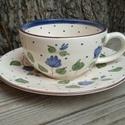 Egy tea veled- romantikus kék állomban, Konyhafelszerelés, Esküvő, Baba-mama-gyerek, Bögre, csésze, Kerámia, Festett tárgyak, Fehér agyagból,mázalatti festékkel,egészségre káros anyag mentes mázzal készítettem ezt a teás kész..., Meska