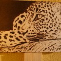 Leopárd, Férfiaknak, Dekoráció, Otthon, lakberendezés, Kép, Famegmunkálás, Fotó, grafika, rajz, illusztráció, A leopárd kép mérete: 34 cm x 23 cm. Vastagsága: 8 mm. Rétegelt fa lemezre készült pirográf technik..., Meska
