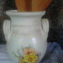 Virágos..., Dekoráció, Konyhafelszerelés, Otthon, lakberendezés, Kaspó, virágtartó, váza, korsó, cserép, Decoupage, szalvétatechnika, Festett tárgyak, Valójában ez egy kicsit rusztikus, kicsit antikolt cserép fakanáltartó... mezei virágcsokorral dísz..., Meska