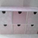 Rózsa-polc..., Dekoráció, Otthon, lakberendezés, Tárolóeszköz, Festett tárgyak, Decoupage, szalvétatechnika, Ez egy hamvas rózsaszín, kedves/elegáns, 6 rekeszes/fiókos mini polcocska... ékszereknek, mütyürkék..., Meska