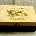 Tea Time..., Otthon, lakberendezés, Konyhafelszerelés, Dekoráció, Tárolóeszköz, Decoupage, szalvétatechnika, Festett tárgyak, Ez egy 23X15X8 cm-es dobozka (teafilter tartó)... ami sok apró csokit, bonbont... de eredeti rendel..., Meska