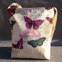 Pillangó  mintás   textilbőr táska, Táska, Mindenmás, Ruha, divat, cipő, Válltáska, oldaltáska, Varrás, RENDELHETŐ , ELKÉSZÍTÉSI IDŐ 1 HÉT !!!!   Textilbőrből és vászonból  készítettem.  A4-es könyvek ké..., Meska