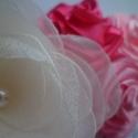 Virágözön baba hajpánt- fotózásra, Ruha, divat, cipő, Hajbavaló, Hajpánt, Mindenmás, Varrás, Gyönyörű krém- és rózsaszínű virág fejpánt. A nagy virág minden szirmát egyenként kézzel vágtam és é..., Meska
