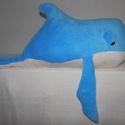 Hatalmas Bálna, Baba-mama-gyerek, Játék, Plüssállat, rongyjáték, Varrás, Hatalmas bálnát készítettem, pihe-puha anyagból. A babaszoba éke lehet ez az 1 méter hosszú , és 1 ..., Meska