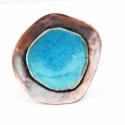 Kalimutu - vörösréz gyűrű (türkiz), Ékszer, óra, Gyűrű, Ékszerkészítés, Tűzzománc, Kalimutu egy vulkanikus eredetű kis tavacska Indonéziában, amelynek vize pont ilyen gyönyörű azúrké..., Meska