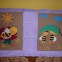 Maja a méhecske, szafaris  falvédő és zsebes tároló:), Baba-mama-gyerek, Gyerekszoba, Falvédő, takaró, Varrás,  A képen látható falvédő praktikus babaszobakellék, hisz a középen húzódó 3 zsebbe lehet pakolni a ..., Meska