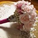 Vintage menyasszonyi csokor,különleges és romantikus esküvőre., Dekoráció, Esküvő, Esküvői csokor, Ünnepi dekoráció, Virágkötés, Gyönyörű vintage menyasszonyi csokor,habszivacs virágok és gyöngyök teszik különlegessé. Rendelhető..., Meska