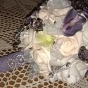Vintage menyasszonyi csokor,különleges és romantikus esküvőre., Dekoráció, Esküvő, Esküvői csokor, Ünnepi dekoráció, Virágkötés, Gyönyörű vintage menyasszonyi csokor,habszivacs virágok és gyöngyök teszik különlegessé. , Meska