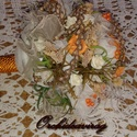 Vintage menyasszonyi csokor,különleges és romantikus esküvőre., Dekoráció, Esküvő, Esküvői csokor, Ünnepi dekoráció, Virágkötés, Gyönyörű vintage menyasszonyi csokor, tartóspolifoam virágok és gyöngyök teszik különlegessé. , Meska