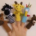 Szafari ujjbábok RENDELHETŐ, Baba-mama-gyerek, Játék, Báb, Baba-és bábkészítés, Horgolás, Hollári hollári hóóóó ujjbábozni jaj de jóóó!!! Szafari buli a kis papagájjal, macival, zebrával, z..., Meska