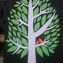Esküvői névre szóló aláírás fa kép, Esküvő, Dekoráció, Esküvői dekoráció, Kép, Papírművészet, Fára készült kép. A levelek, ágak, madarak papírból készültek és lettek a fára ragasztva. Az esküvő..., Meska