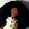 Afro Baba, Játék, Baba-mama-gyerek, Baba játék, Gyerekszoba, Hímzés, Varrás, Egyedi tervezésü, puha pamutból varrott átfordítható baba, dús göndör fekete hajjal, egyik oldalán n..., Meska