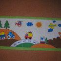 Eperke falvédő festett himzett, Baba-mama-gyerek, Gyerekszoba, Falvédő, takaró, Festészet, Eperke patchwork, hímzés és textilfestés kombinációjából született falvédő  Mérete: 200*60 3 rétegű..., Meska