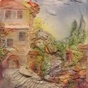 Provence, Dekoráció, Otthon, lakberendezés, Dísz, Kép, Mindenmás, 50x70 cm-es feszített vászon  képezi az alapját ennek a képnek. Textilszobrászat. Akrillal festve, ..., Meska