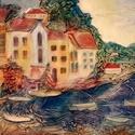 Tengerpart, Dekoráció, Otthon, lakberendezés, Dísz, Kép, Mindenmás, 50x70 cm-es feszített vászon  képezi az alapját ennek a képnek. Textilszobrászat. Akrillal festve, ..., Meska