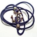 """Karkötő-horgony medállal """"navy blue"""", Férfiaknak, Ékszer, óra, Bokalánc, Karkötő, Ékszerkészítés, Tengerész-matróz stílusú horgony medálos karkötő,kék zsinórral, antik réz színű medállal és fémgyön..., Meska"""