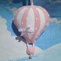 """Baba hőlégballon - rózsaszín, Baba-mama-gyerek, Otthon, lakberendezés, Gyerekszoba, Varrás, A """"baba csapat"""" tagja. Pöttyös filcből készült, szalag nélkül 9 cm magas kis dísz,gyereknek,felnőtt..., Meska"""
