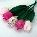 Tulipán csokor rózsaszínek árnyalatai, Dekoráció, Húsvéti apróságok, Ünnepi dekoráció, Patchwork, foltvarrás, Varrás, Textilből készült dekoratív tulipán csokor.  5 szál rózsaszínes árnyalat  összeállítása.  Gyönyörű,..., Meska