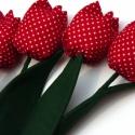 Tulipán csokor pöttyös, Dekoráció, Húsvéti apróságok, Ünnepi dekoráció, Patchwork, foltvarrás, Varrás, Textilből készült dekoratív tulipán csokor.  4db pöttyös virág. Darabonként 550ft-ért vásárolható! ..., Meska
