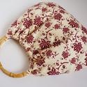 Bordó virágos tavasz táska, Táska, Szatyor, Varrás, Mindenmás, Bordó virágok díszítik ezt a táskát.  Nagyon szép, nőies táska. Füle 11x 18cm-es átmérőjű bambusz k..., Meska