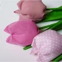 Tulipánok rózsaszín virágokból, Dekoráció, Húsvéti apróságok, Ünnepi dekoráció, Patchwork, foltvarrás, Varrás, Textilből készült dekoratív tulipán csokor.  3 szál rózsaszínes árnyalat  összeállítása.  Gyönyörű,..., Meska