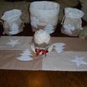 Karácsonyi szett, Dekoráció, Konyhafelszerelés, Otthon, lakberendezés, Ünnepi dekoráció, Hímzés, Varrás, A Karácsony hangulatát megszépítő asztali szett.  , Meska