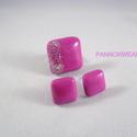 Pink csillámos kocka gyűrű és fülbevaló szett, Ékszer, óra, Ékszerszett, Fülbevaló, Gyűrű, Ékszerkészítés, Ezt az egyszerű, de még is elegáns szettet  kézzel készítettem polymer clayből. Ezüst csillámmal dí..., Meska