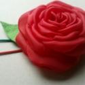 Duplapántos Rózsa Hajpánt, Baba-mama-gyerek, Ruha, divat, cipő, Hajbavaló, Hajpánt, Varrás, Piros, hatalmas rózsa (9cm) gumipánton.  Harmonizáló színekkel. Kicsi levélkével.  Akár Mikulás-par..., Meska