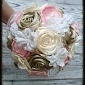 Pasztell-csokor, virágcsokor textilvirágokkal, tartós csokor, Dekoráció, Esküvő, Esküvői dekoráció, Esküvői csokor, Ékszerkészítés, Varrás, Pasztell rózsaszín, krém és bronz színek vegyülnek ebben a csodaszép csokorban.  Méreténél fogva (1..., Meska