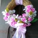 rügyfakadás  -10 %!, Esküvő, Dekoráció, Esküvői dekoráció, Dísz, Virágkötés, Ezt a tavaszi hangulatba hozó ajtódíszt,kopogtatót  selyem hortenziából,fréziából,rózsából készített..., Meska