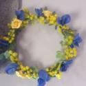 hajdísz/ koszorú, Esküvő, Hajdísz, ruhadísz, Virágkötés, Rendelésre készítettem,esküvőre Mezei selyem virágokkal,mimoza,hortenzia,apró rózsákból. természete..., Meska