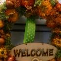 """welcome"""" ősz, Dekoráció, Otthon, lakberendezés, Virágkötés, Szalma alapra készült, száraz virágokból,fa táblával,óriás méret 40cm kb.igazán szép dísze a bejára..., Meska"""