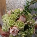 pure love, Esküvő, Esküvői dekoráció, Esküvői csokor, Virágkötés, menyasszonyi csokor,visszafogott pasztell színekkel.élethű virágokból.   mérete 25cm  kérésre más s..., Meska
