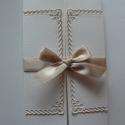 Nyitott keret - esküvői meghívó, Esküvő, Naptár, képeslap, album, Meghívó, ültetőkártya, köszönőajándék, Képeslap, levélpapír, Papírművészet, Szép, formavágott keret adja visszafogott díszét középen nyíló meghívómnak, melyet szatén szalaggal..., Meska