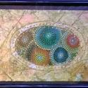 Mandalák körbezárva, Képzőművészet, Festmény, Festmény vegyes technika, Festészet, 14*19 cm-es vegyes technikával készített festmény. Álló, fekete, asztali kerettel., Meska
