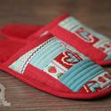 Vendég papucs (piros színekkel), Otthon, lakberendezés, Ruha, divat, cipő, Cipő, papucs, Varrás, Patchwork, foltvarrás, Szeretnéd te is egyedi papuccsal várni a vendégeket? Rendelj az egyedi készítésű patchwork papucsok..., Meska