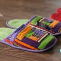 Vendég papucs (lila-zöld színekkel), Otthon, lakberendezés, Ruha, divat, cipő, Cipő, papucs, Varrás, Patchwork, foltvarrás, Szeretnéd te is egyedi papuccsal várni a vendégeket? Rendelj az egyedi készítésű patchwork papucsok..., Meska