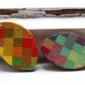négy évszak, Ékszer, óra, Fülbevaló, Ékszerkészítés, Decoupage, szalvétatechnika, kézzel festett fa fülbevalók színes-szabályos árnyalatokkal 4,7 x 3 cm-en. nikkelmentes akasztókon,..., Meska