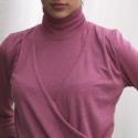 Mályva garbós tunika, Ruha, divat, cipő, Női ruha, Felsőrész, póló, Ruha, Varrás, Egyedi tervezésű mályvás-rózsaszín elasztikus, garbós tunika. Felső részének eleje aszimetrikusan e..., Meska