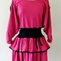 Pink, fodros retró ruha, Ruha, divat, cipő, Női ruha, Ruha, Varrás, Pink színű, retró stílusú, fodros, pamut ruha. Kiváló táncos, bulizós estékre.Derékban passzés.  Fi..., Meska